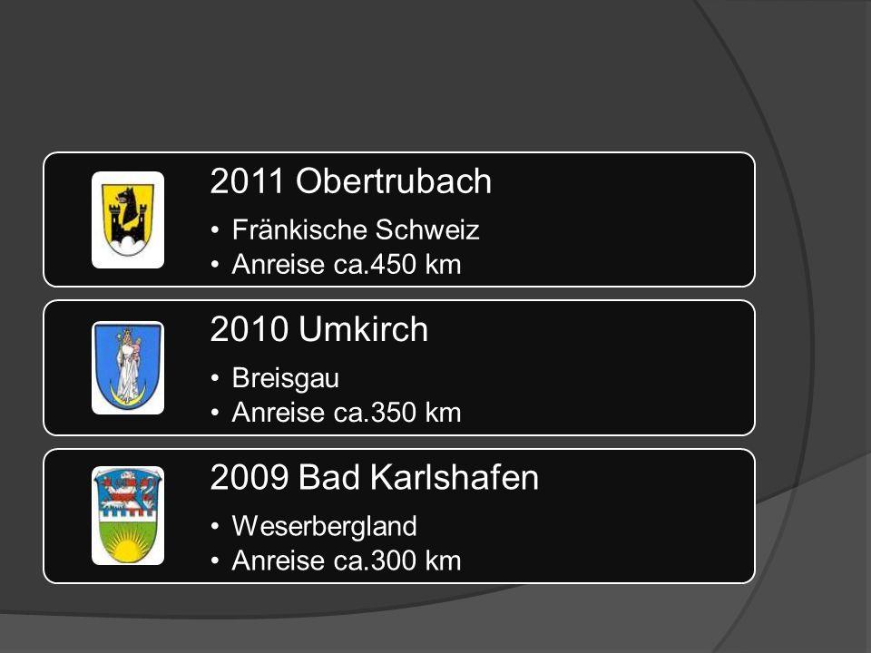 2011 Obertrubach Fränkische Schweiz Anreise ca.450 km 2010 Umkirch Breisgau Anreise ca.350 km 2009 Bad Karlshafen Weserbergland Anreise ca.300 km