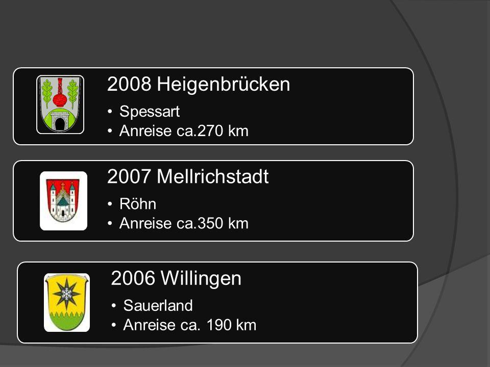 2008 Heigenbrücken Spessart Anreise ca.270 km 2007 Mellrichstadt Röhn Anreise ca.350 km 2006 Willingen Sauerland Anreise ca.
