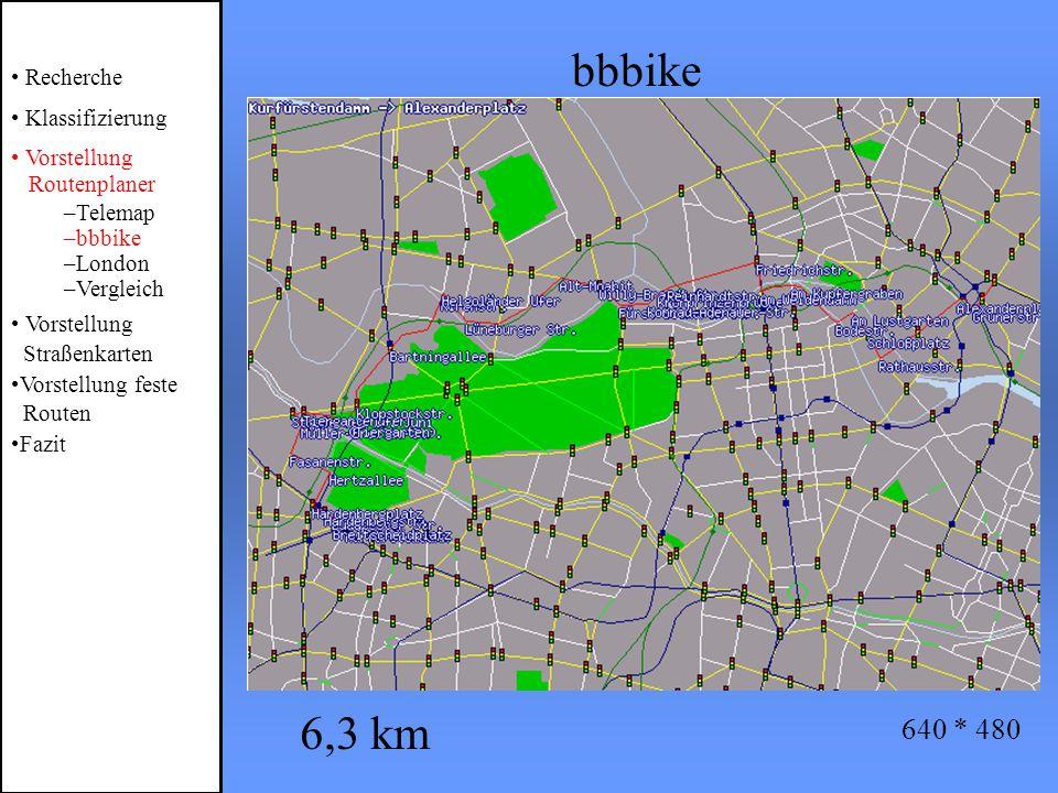 bbbike Recherche Klassifizierung Vorstellung Routenplaner –Telemap –bbbike –London –Vergleich Vorstellung Straßenkarten Vorstellung feste Routen Fazit 6,3 km 640 * 480