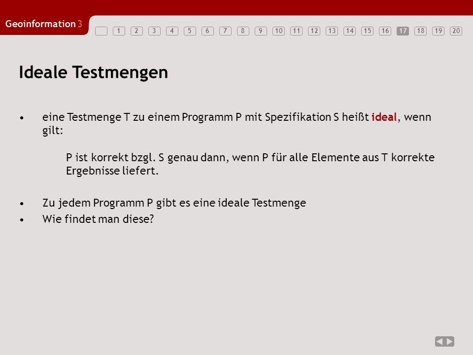 1234567891011121314151617181920 Geoinformation3 17 eine Testmenge T zu einem Programm P mit Spezifikation S heißt ideal, wenn gilt: P ist korrekt bzgl
