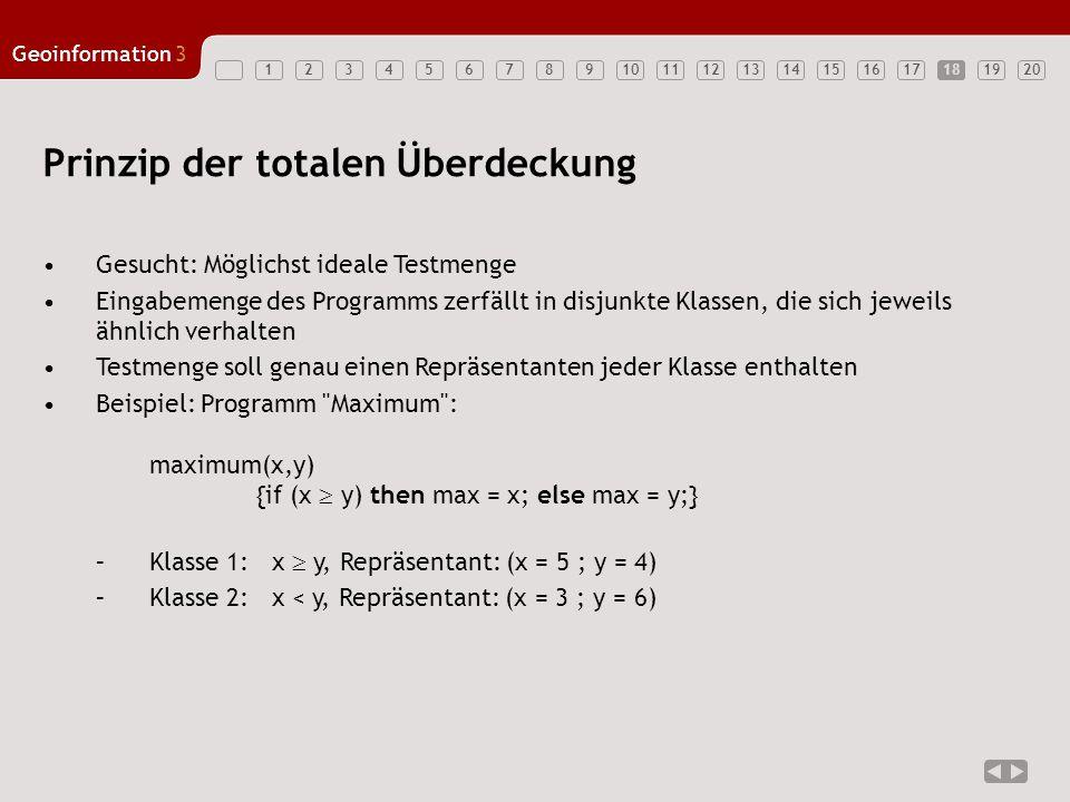 1234567891011121314151617181920 Geoinformation3 18 Prinzip der totalen Überdeckung Gesucht: Möglichst ideale Testmenge Eingabemenge des Programms zerf