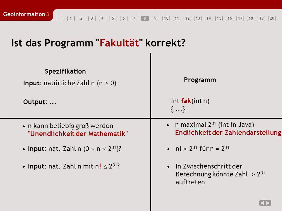 1234567891011121314151617181920 Geoinformation3 8 Ist das Programm