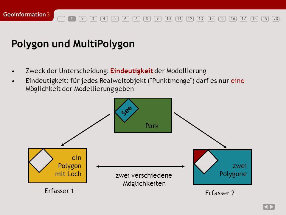 1234567891011121314151617181920 Geoinformation3 1 Polygon und MultiPolygon Zweck der Unterscheidung: Eindeutigkeit der Modellierung Eindeutigkeit: für