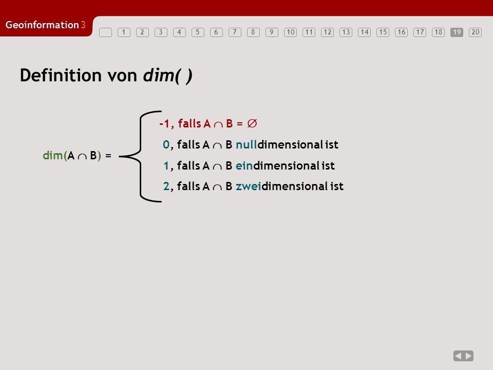 1234567891011121314151617181920 Geoinformation3 19 Definition von dim( ) dim(A  B) = -1, falls A  B =  0, falls A  B nulldimensional ist 1, falls
