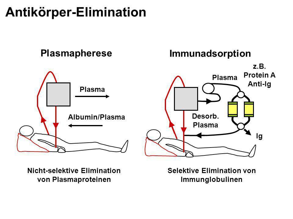 Plasma Albumin/Plasma Plasmapherese Nicht-selektive Elimination von Plasmaproteinen Ig Plasma Immunadsorption z.B. Protein A Anti-Ig Selektive Elimina