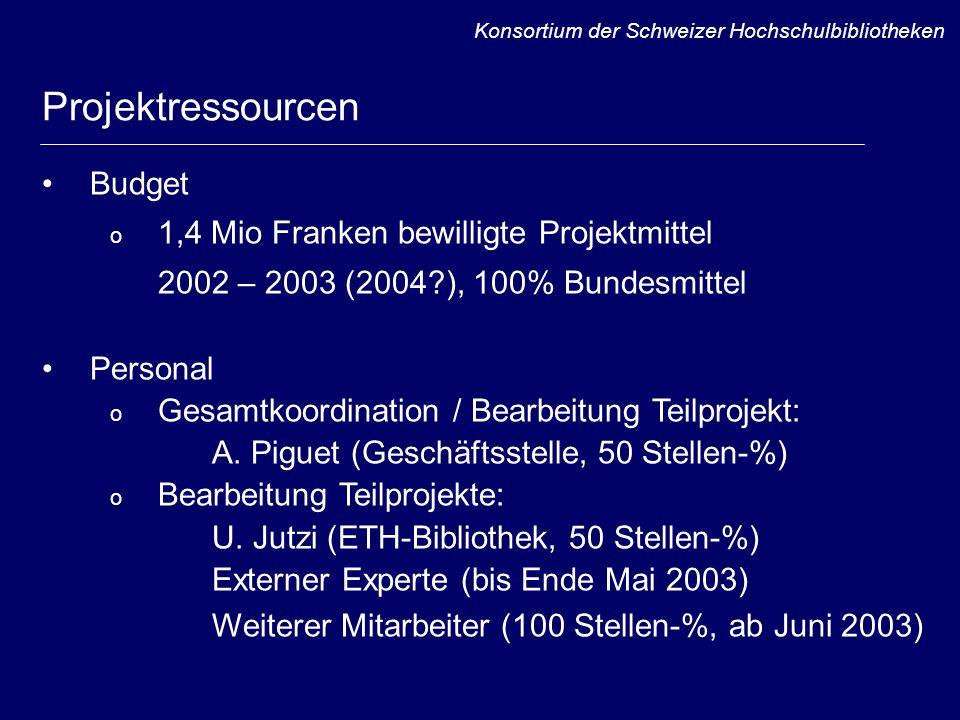 Budget o 1,4 Mio Franken bewilligte Projektmittel 2002 – 2003 (2004 ), 100% Bundesmittel Personal o Gesamtkoordination / Bearbeitung Teilprojekt: A.