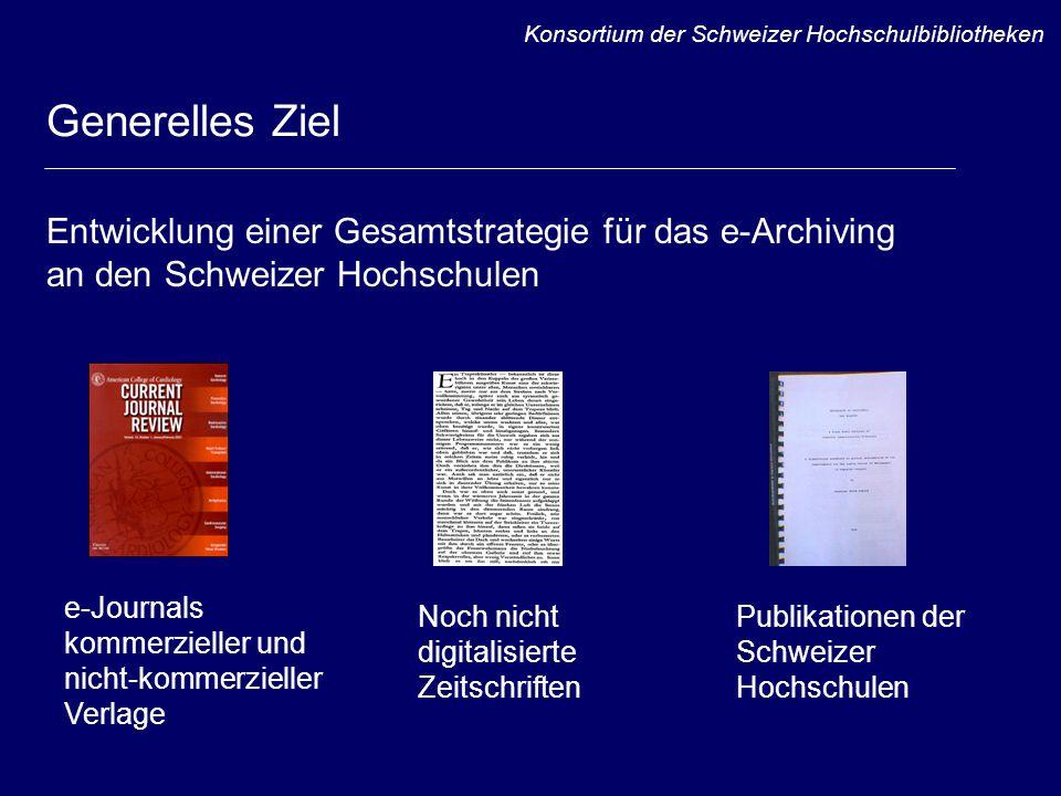 Was bisher erarbeitet wurde Umfangreiche Dokumentation weltweit vorhandener Informationen Entwicklung von ersten Projektideen Untersuchung ausgewählter Projekte Gespräche mit einschlägigen Experten Entwicklung von Szenarien für das e-Archiving von e-Journals Konsortium der Schweizer Hochschulbibliotheken
