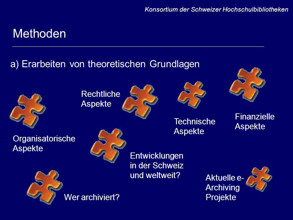 Methoden Rechtliche Aspekte Organisatorische Aspekte Finanzielle Aspekte Aktuelle e- Archiving Projekte a) Erarbeiten von theoretischen Grundlagen Entwicklungen in der Schweiz und weltweit.