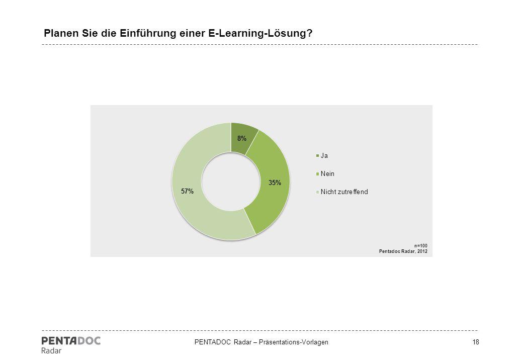 PENTADOC Radar – Präsentations-Vorlagen18 Planen Sie die Einführung einer E-Learning-Lösung?