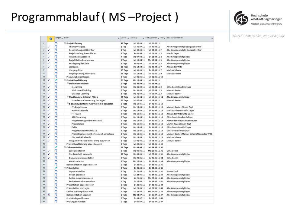 Programmablauf ( MS –Project ) Beuter, Goetz, Scham, Witt, Zeyer, Zepf