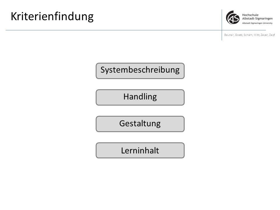Kriterienfindung Beuter, Goetz, Scham, Witt, Zeyer, Zepf Systembeschreibung Handling Gestaltung Lerninhalt