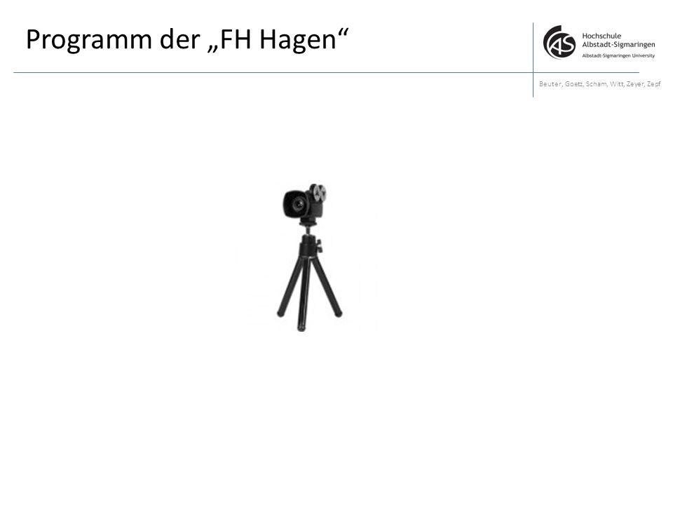 """Programm der """"FH Hagen"""" Beuter, Goetz, Scham, Witt, Zeyer, Zepf"""