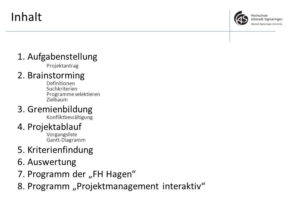 Inhalt 1. Aufgabenstellung Projektantrag 2. Brainstorming Definitionen Suchkriterien Programme selektieren Zielbaum 3. Gremienbildung Konfliktbewältig