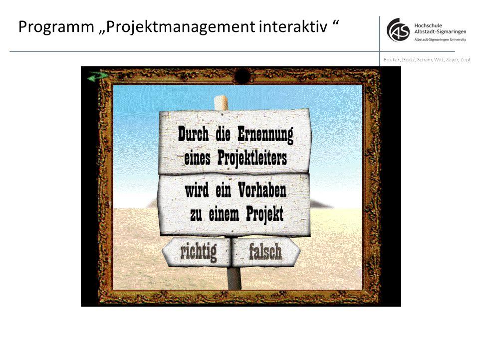 """Programm """"Projektmanagement interaktiv """" Beuter, Goetz, Scham, Witt, Zeyer, Zepf"""
