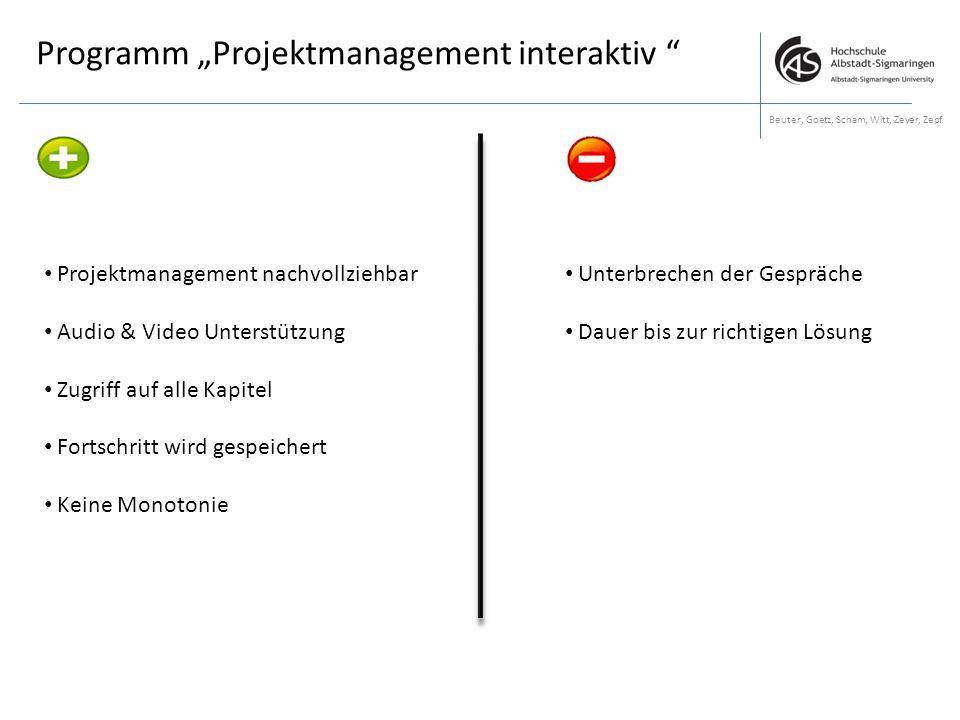 """Programm """"Projektmanagement interaktiv """" Beuter, Goetz, Scham, Witt, Zeyer, Zepf Projektmanagement nachvollziehbar Audio & Video Unterstützung Zugriff"""