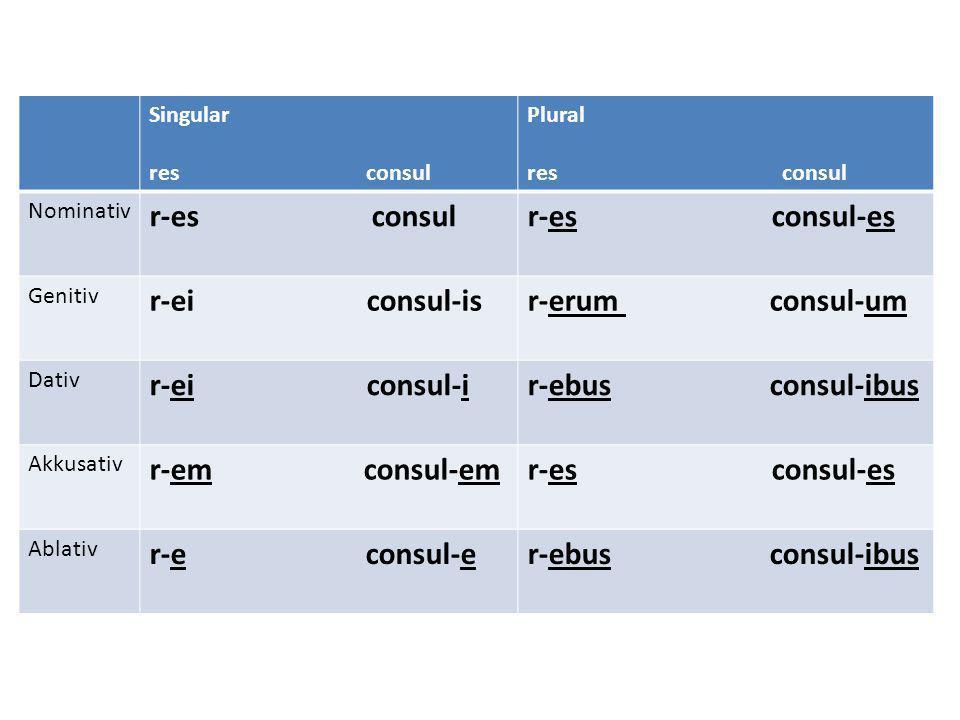 Singular res consul Plural res consul Nominativ r-es consulr-es consul-es Genitiv r-ei consul-isr-erum consul-um Dativ r-ei consul-ir-ebus consul-ibus