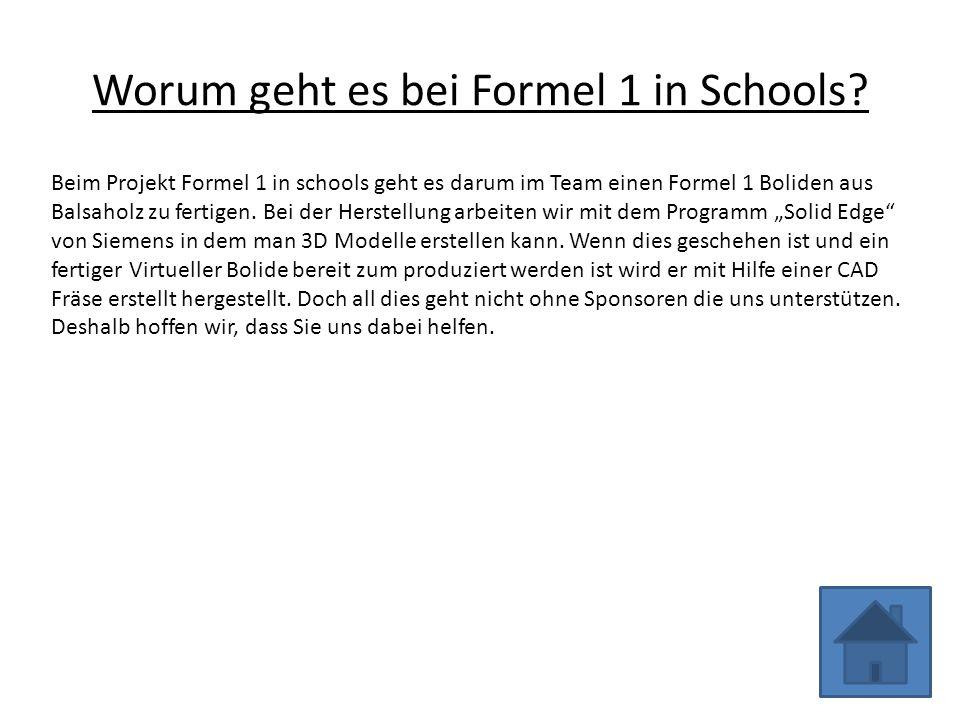 Worum geht es bei Formel 1 in Schools.
