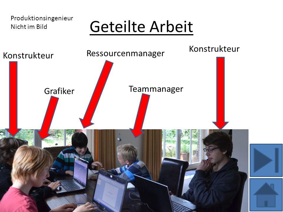 Geteilte Arbeit Konstrukteur Ressourcenmanager Teammanager Grafiker Produktionsingenieur Nicht im Bild