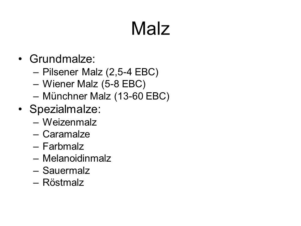 Malz Grundmalze: –Pilsener Malz (2,5-4 EBC) –Wiener Malz (5-8 EBC) –Münchner Malz (13-60 EBC) Spezialmalze: –Weizenmalz –Caramalze –Farbmalz –Melanoid