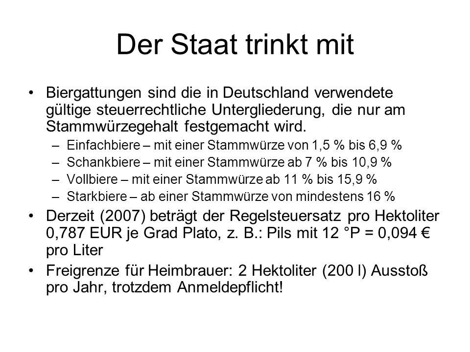 Der Staat trinkt mit Biergattungen sind die in Deutschland verwendete gültige steuerrechtliche Untergliederung, die nur am Stammwürzegehalt festgemach