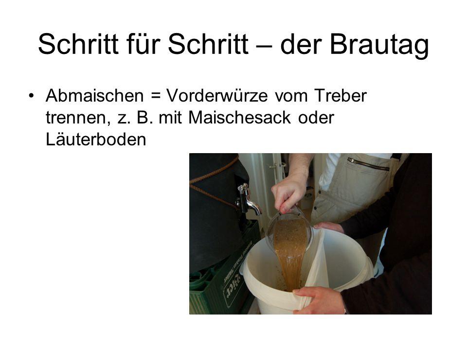 Schritt für Schritt – der Brautag Abmaischen = Vorderwürze vom Treber trennen, z. B. mit Maischesack oder Läuterboden