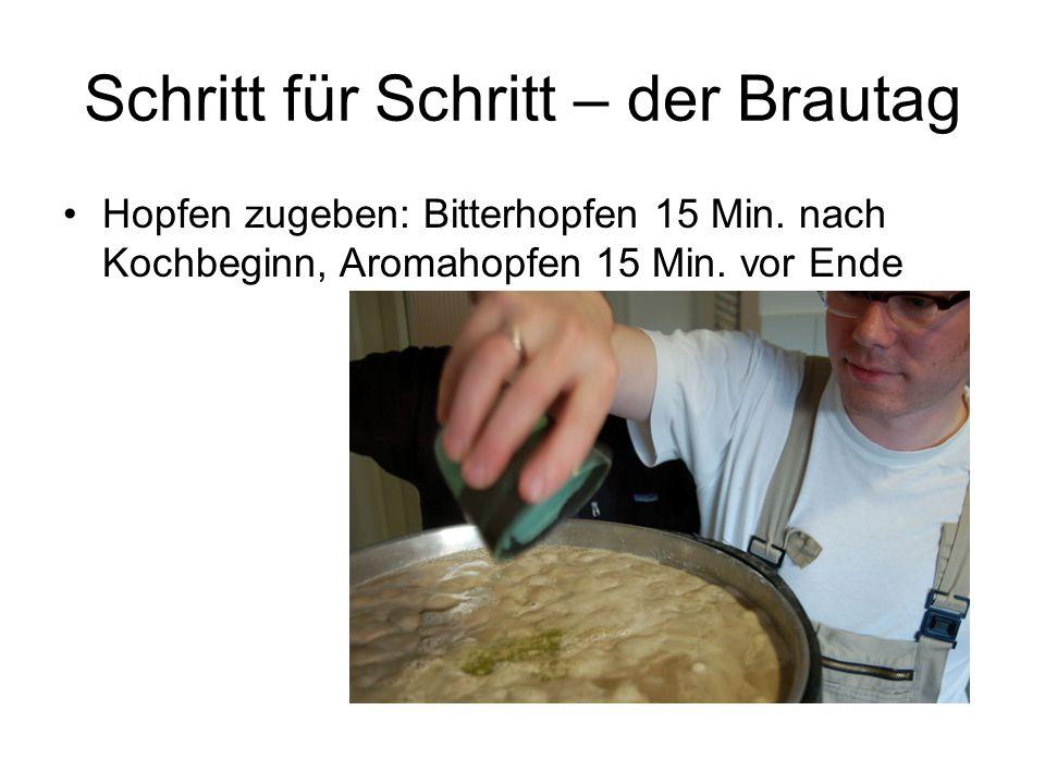 Schritt für Schritt – der Brautag Hopfen zugeben: Bitterhopfen 15 Min. nach Kochbeginn, Aromahopfen 15 Min. vor Ende