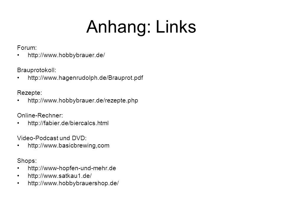 Anhang: Links Forum: http://www.hobbybrauer.de/ Brauprotokoll: http://www.hagenrudolph.de/Brauprot.pdf Rezepte: http://www.hobbybrauer.de/rezepte.php