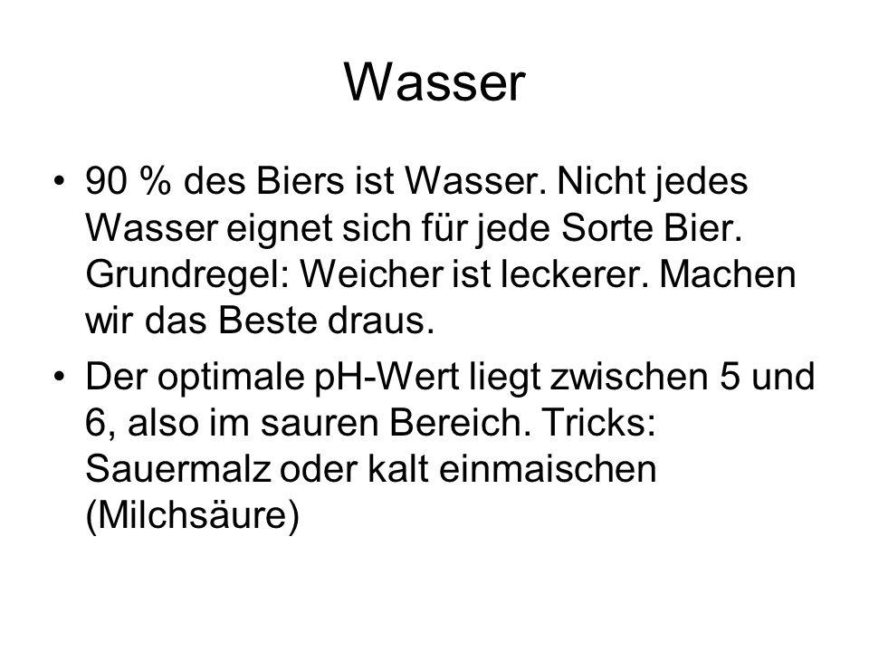 Wie das Wasser, so das Bier WasserBiertypMalz- charakter HopfungVergärungs -grad extrem weich Pilsextrem hellsehr hoch mittelhartMünchenerhell o.