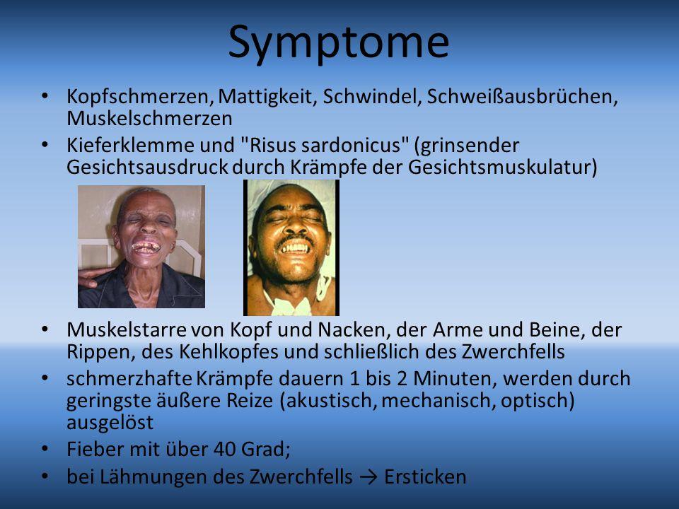 Symptome Kopfschmerzen, Mattigkeit, Schwindel, Schweißausbrüchen, Muskelschmerzen Kieferklemme und Risus sardonicus (grinsender Gesichtsausdruck durch Krämpfe der Gesichtsmuskulatur) Muskelstarre von Kopf und Nacken, der Arme und Beine, der Rippen, des Kehlkopfes und schließlich des Zwerchfells schmerzhafte Krämpfe dauern 1 bis 2 Minuten, werden durch geringste äußere Reize (akustisch, mechanisch, optisch) ausgelöst Fieber mit über 40 Grad; bei Lähmungen des Zwerchfells → Ersticken