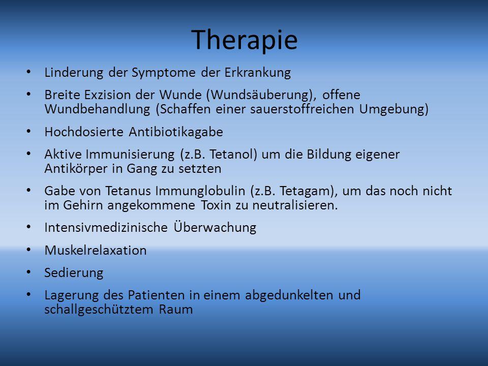 Therapie Linderung der Symptome der Erkrankung Breite Exzision der Wunde (Wundsäuberung), offene Wundbehandlung (Schaffen einer sauerstoffreichen Umge