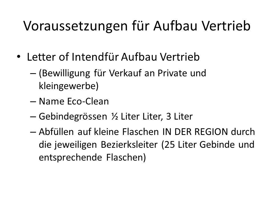 Voraussetzungen für Aufbau Vertrieb Letter of Intendfür Aufbau Vertrieb – (Bewilligung für Verkauf an Private und kleingewerbe) – Name Eco-Clean – Geb