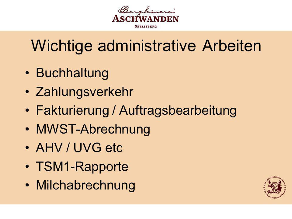 Wichtige administrative Arbeiten Buchhaltung Zahlungsverkehr Fakturierung / Auftragsbearbeitung MWST-Abrechnung AHV / UVG etc TSM1-Rapporte Milchabrec
