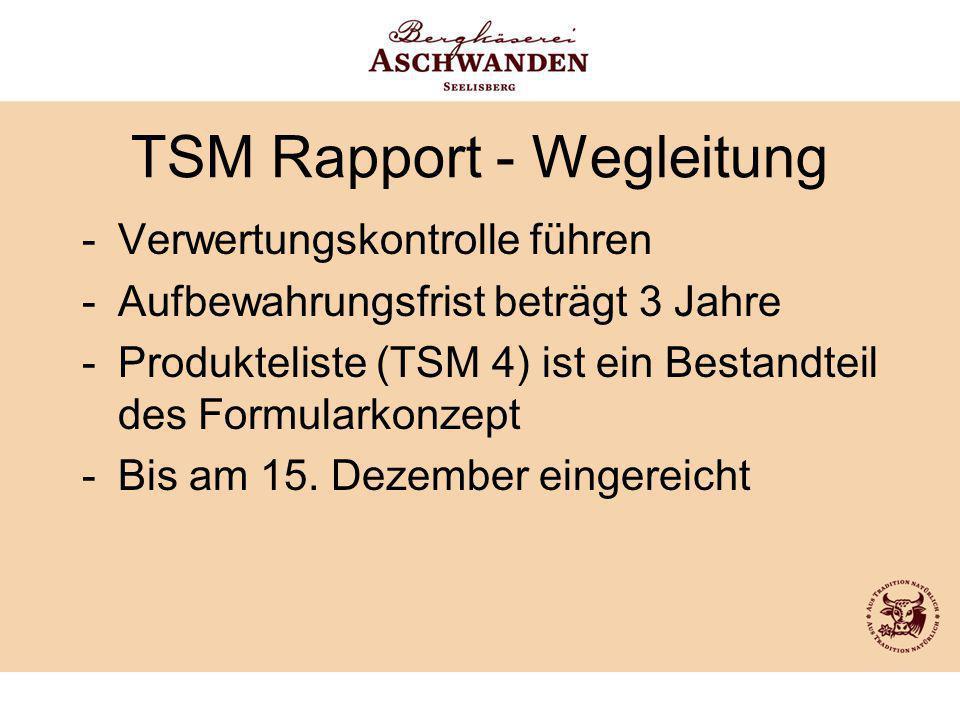 TSM Rapport - Wegleitung -Verwertungskontrolle führen -Aufbewahrungsfrist beträgt 3 Jahre -Produkteliste (TSM 4) ist ein Bestandteil des Formularkonze