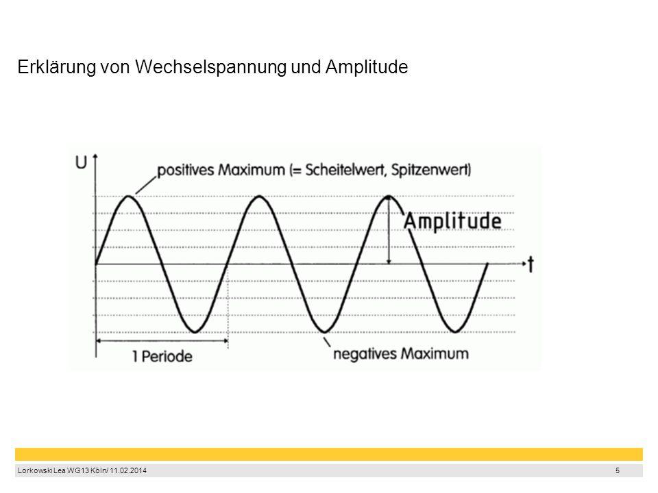 5 Lorkowski Lea WG13 Köln/ 11.02.2014 5 Erklärung von Wechselspannung und Amplitude