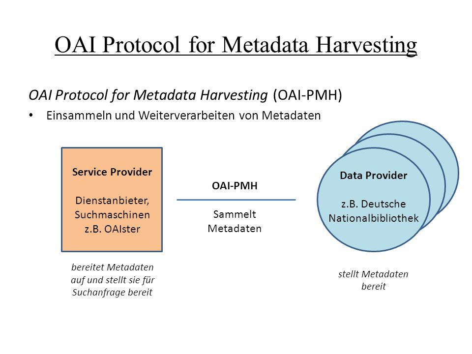 OAI Protocol for Metadata Harvesting OAI Protocol for Metadata Harvesting (OAI-PMH) Einsammeln und Weiterverarbeiten von Metadaten Data Provider z.B.