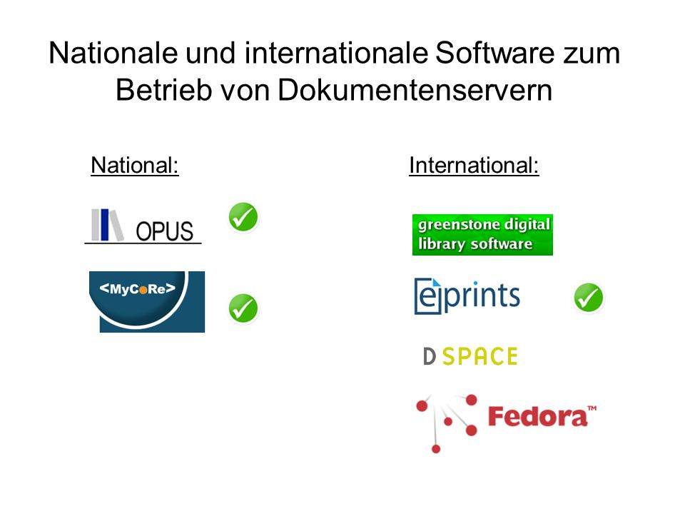 Nationale und internationale Software zum Betrieb von Dokumentenservern National: International: