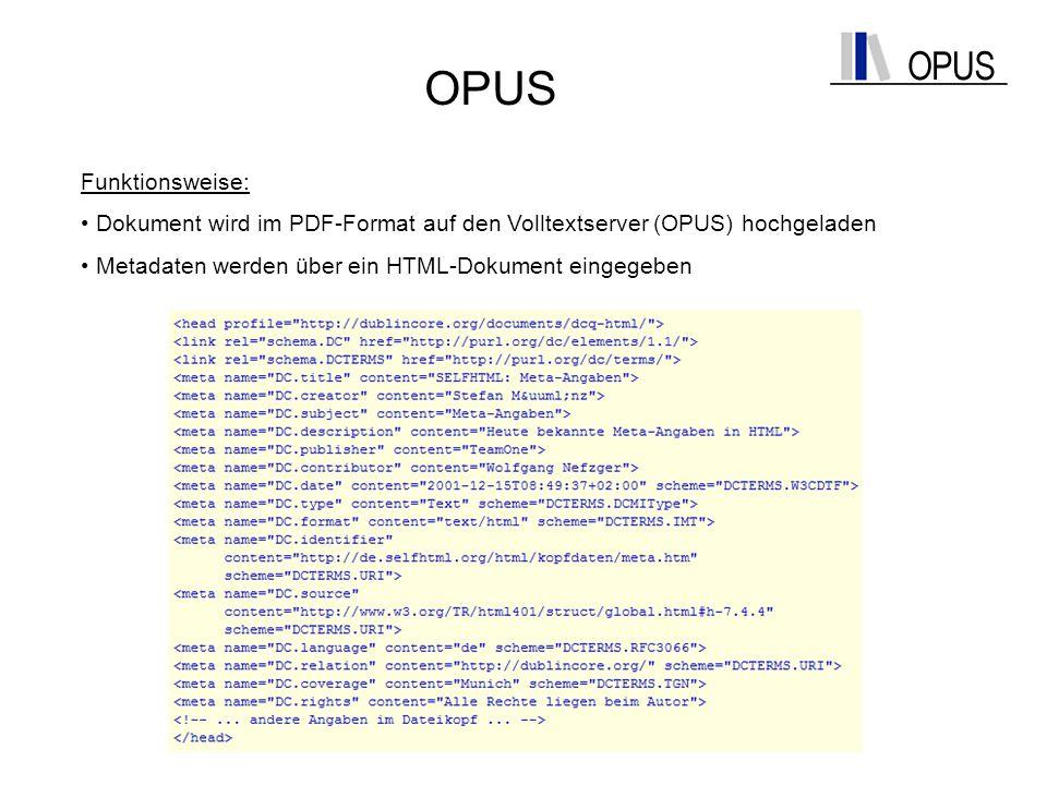 OPUS Funktionsweise: Dokument wird im PDF-Format auf den Volltextserver (OPUS) hochgeladen Metadaten werden über ein HTML-Dokument eingegeben