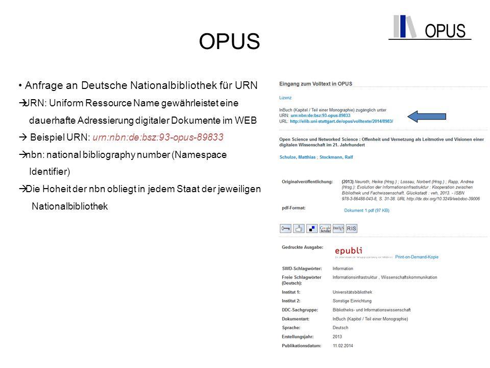OPUS Anfrage an Deutsche Nationalbibliothek für URN  URN: Uniform Ressource Name gewährleistet eine dauerhafte Adressierung digitaler Dokumente im WE