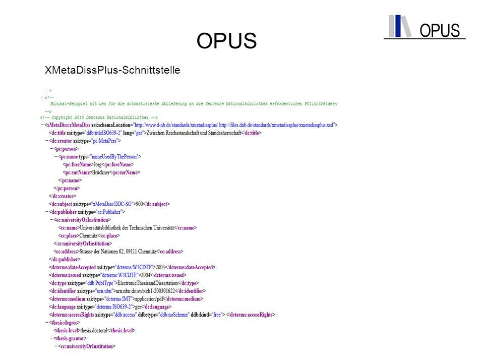 OPUS XMetaDissPlus-Schnittstelle