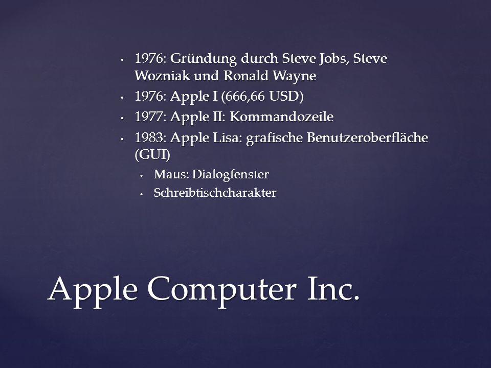 Apple I Quelle: Ed Uthman; https://www.flickr.com/photos/78147607@N00/ 281712899 Apple II Quelle: Marcin Wichary; https://www.flickr.com/photos/mwichary/2151 368358/ Lisa 2 Quelle: Marcin Wichary; https://www.flickr.com/photos/8399025@N07/22 82602369