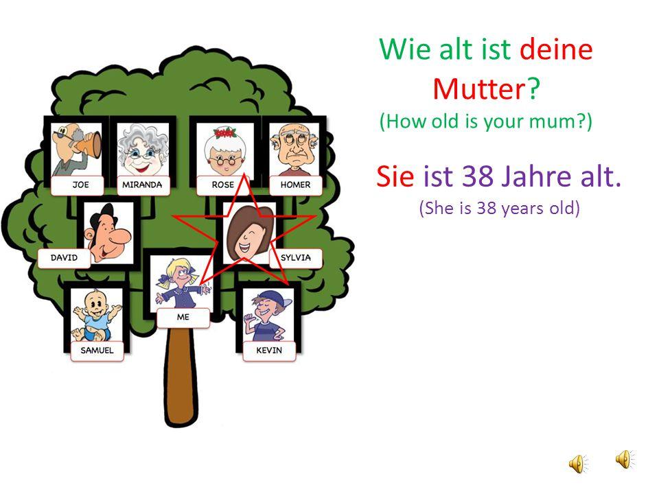 Sie ist 38 Jahre alt. (She is 38 years old) Wie alt ist deine Mutter? (How old is your mum?)