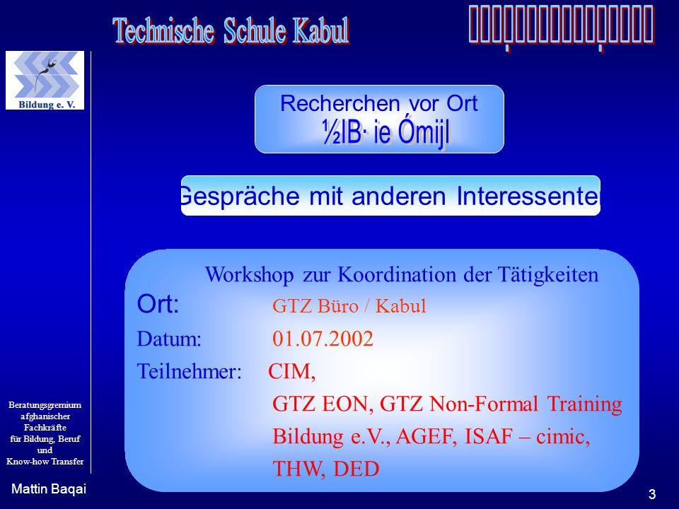 Beratungsgremium afghanischer Fachkräfte für Bildung, Beruf und Know-how Transfer Mattin Baqai 3 Workshop zur Koordination der Tätigkeiten Ort: GTZ Bü