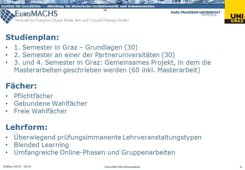 Institut für Geschichte – Abteilung für Historische Fachinformatik und Dokumentation Zyklus 2014 - 2016 EuroMACHS Information 4 Studienplan: 1. Semest