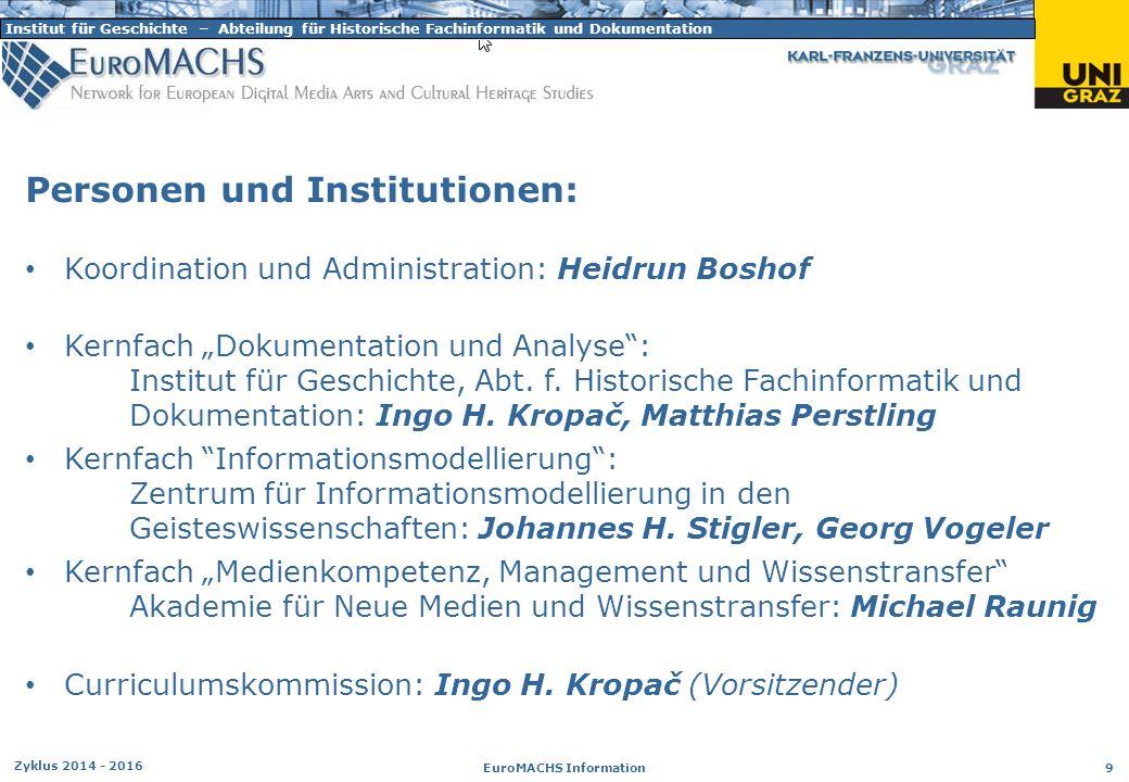 Institut für Geschichte – Abteilung für Historische Fachinformatik und Dokumentation Zyklus 2014 - 2016 EuroMACHS Information 9 Personen und Instituti