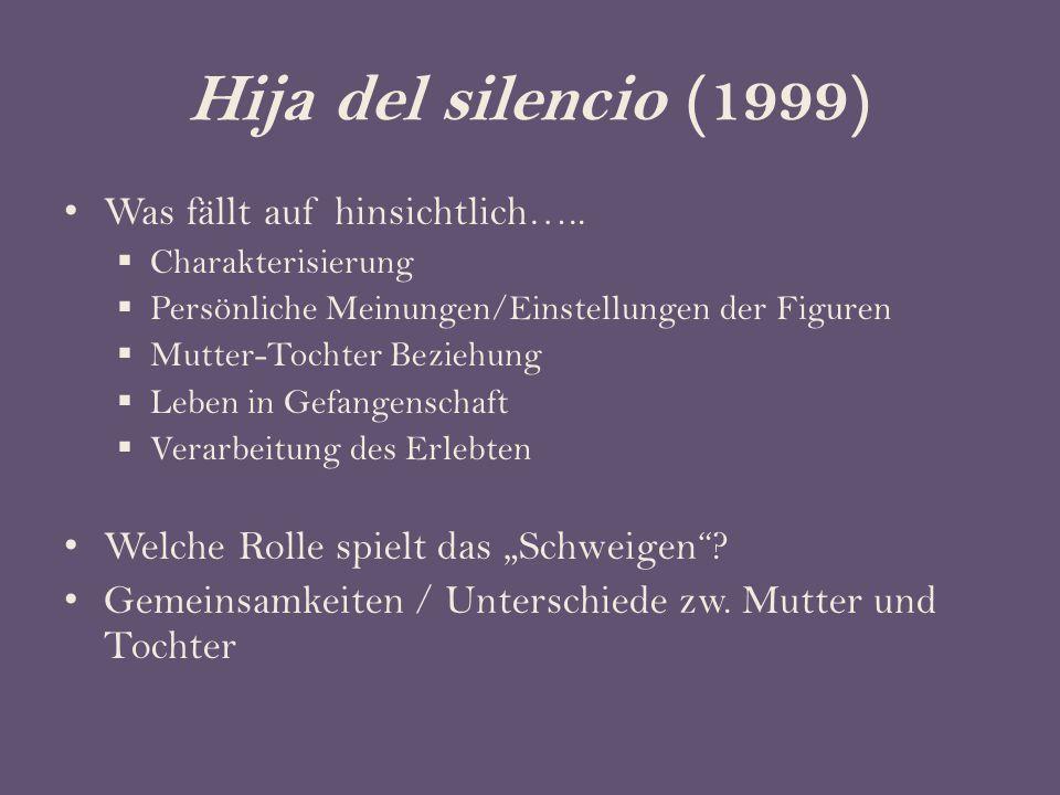 Hija del silencio (1999) Was fällt auf hinsichtlich…..