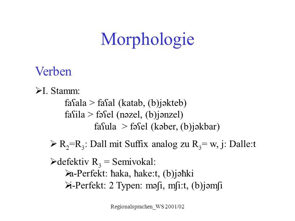 Regionalsprachen_WS 2001/02 Morphologie Verben  I. Stamm: fa ʕ ala > fa ʕ al (katab, (b)jəkteb) fa ʕ ila > fə ʕ el (nəzel, (b)jənzel) fa ʕ ula > fə ʕ