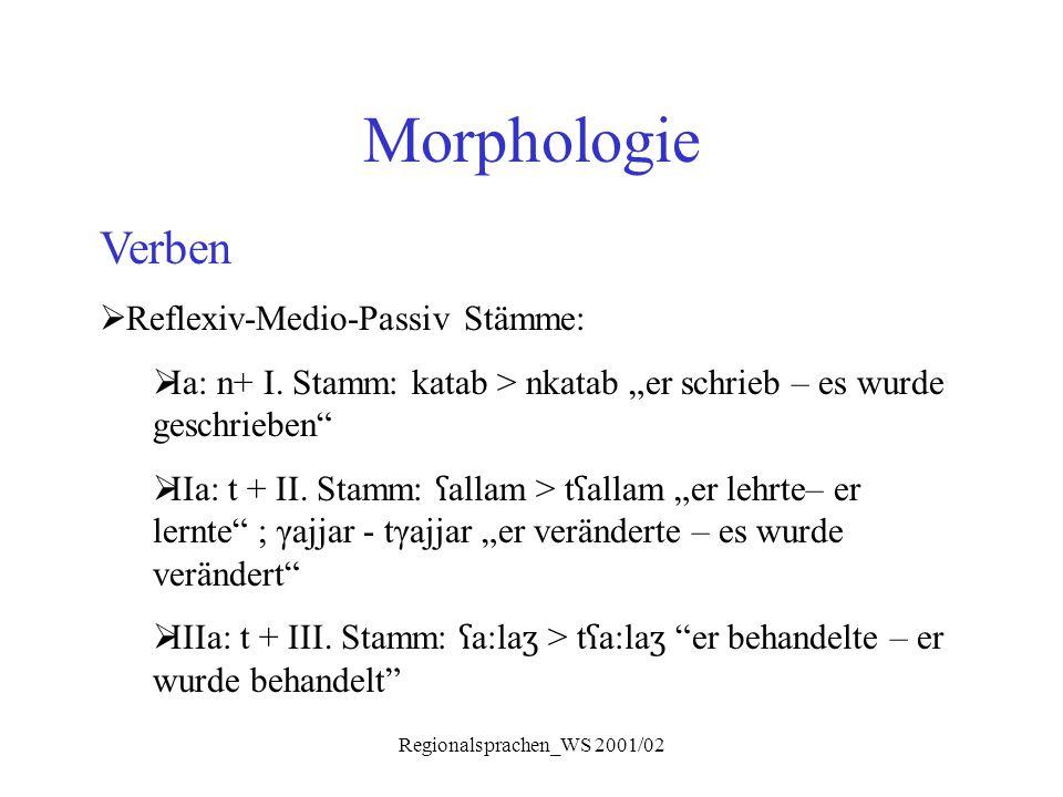 """Regionalsprachen_WS 2001/02 Morphologie Verben  Reflexiv-Medio-Passiv Stämme:  Ia: n+ I. Stamm: katab > nkatab """"er schrieb – es wurde geschrieben"""" """