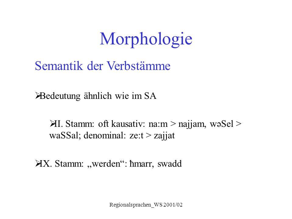 Regionalsprachen_WS 2001/02 Morphologie Semantik der Verbstämme  Bedeutung ähnlich wie im SA  II. Stamm: oft kausativ: na:m > najjam, wəSel > waSSal