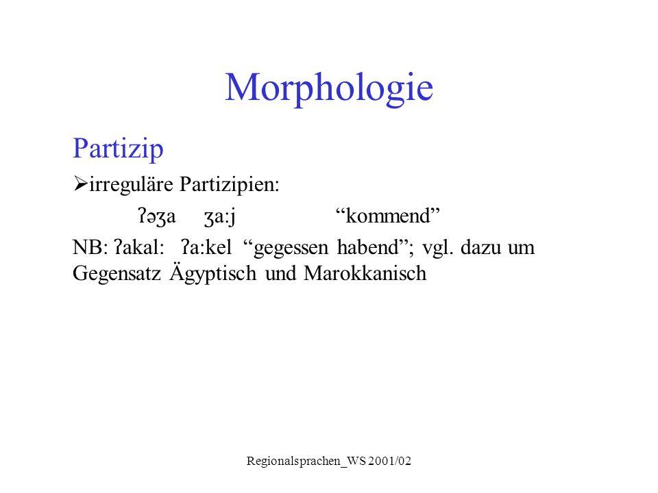 """Regionalsprachen_WS 2001/02 Morphologie Partizip  irreguläre Partizipien: ʔ ə ʒ a ʒ a:j""""kommend"""" NB: ʔ akal: ʔ a:kel """"gegessen habend""""; vgl. dazu um"""