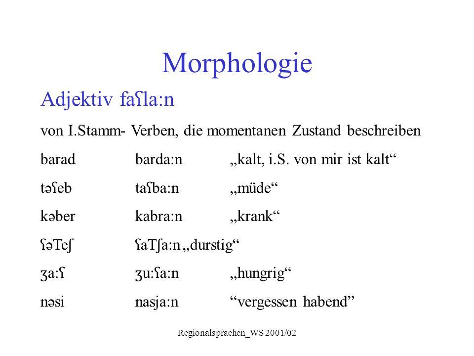 """Regionalsprachen_WS 2001/02 Morphologie Adjektiv fa ʕ la:n von I.Stamm- Verben, die momentanen Zustand beschreiben baradbarda:n""""kalt, i.S. von mir ist"""